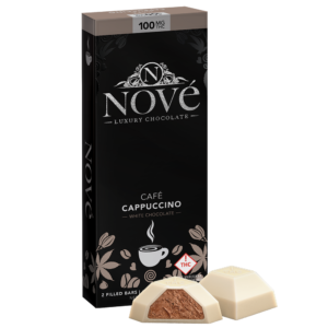 Nove Cafe Cappuccino cannabis luxury chocolate packaging next to a cut-open piece of chocolate.
