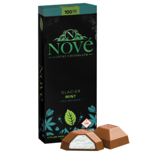 Nove Glacier Mint cannabis luxury chocolate packaging next to a cut-open piece of chocolate.