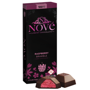 Nove Raspberry Bramble cannabis luxury chocolate packaging next to a cut-open piece of chocolate.