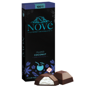 Nove Island Coconut cannabis luxury chocolate packaging next to a cut-open piece of chocolate. This bar is perfect for our Grilled Pineapple with Chocolate Drizzle recipe.